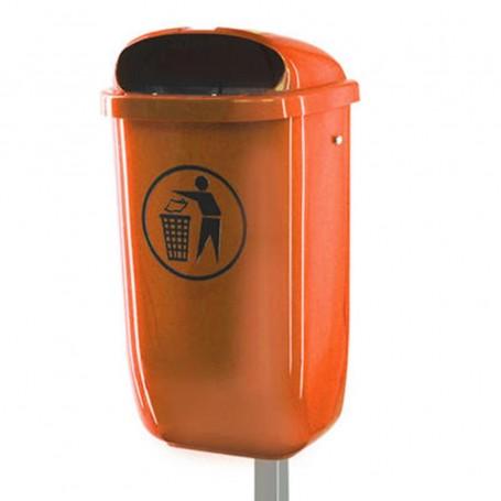 Corbeille en plastique 50l orange